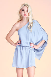 Hammered Satin Slouchy One Shoulder Dress
