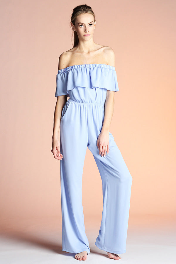 Off Shoulder Ruffle Jumpsuit - Ahri