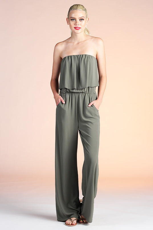 Simple Strapless Jumpsuit - Ahri