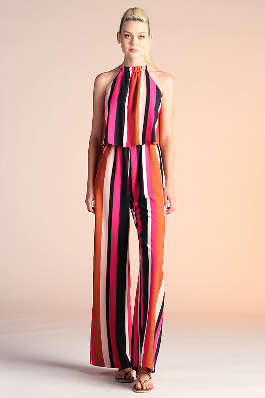 Saturated Striped Halter Jumpsuit - Ahri