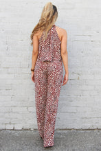 Load image into Gallery viewer, Kiara Leopard Ruffle Halter Jumpsuit
