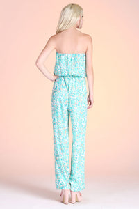 Water Mosaic Strapless Jumpsuit