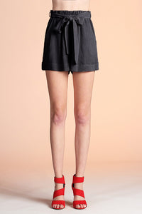 Washed Cotton Paper Bag Shorts
