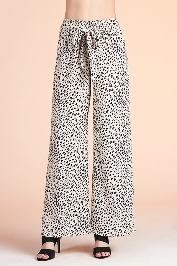 Snow Leopard Wide Leg Tie Pants - Ahri