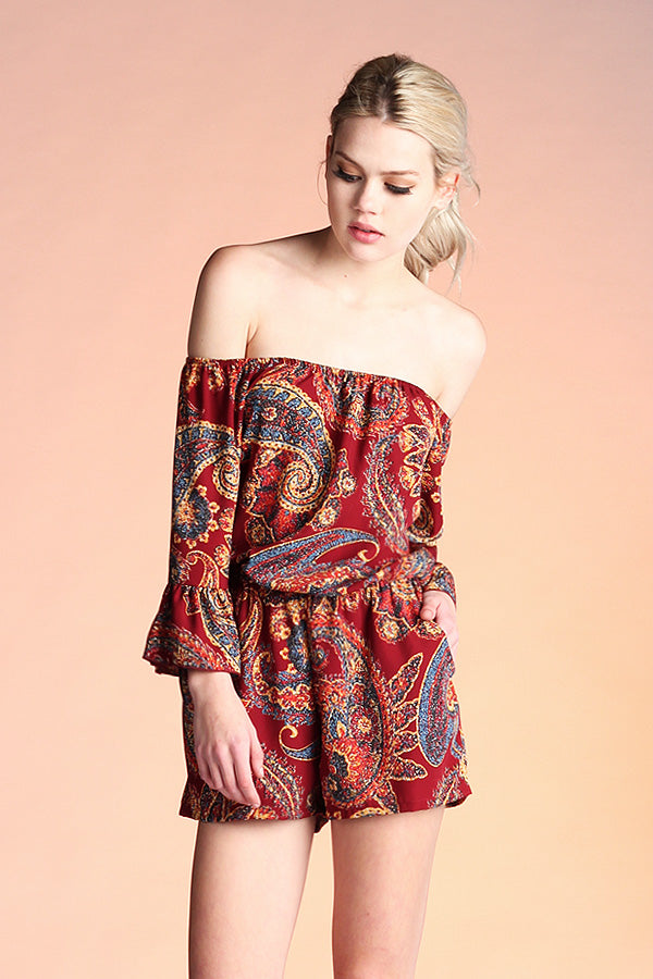 Boho Paisley Off Shoulder Romper