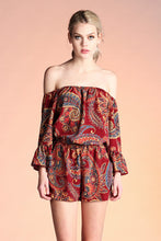 Load image into Gallery viewer, Boho Paisley Off Shoulder Romper