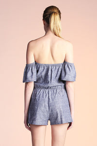 Off Shoulder Linen Romper - Ahri