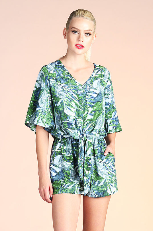 Jungle Leaf Tie Romper - Ahri
