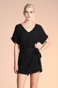 Side Wrap Romper - Black