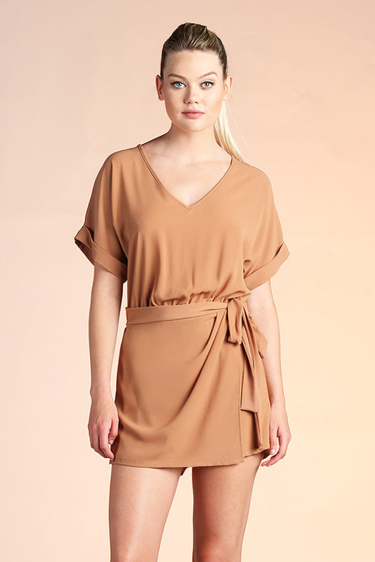 Side Wrap Romper - Camel