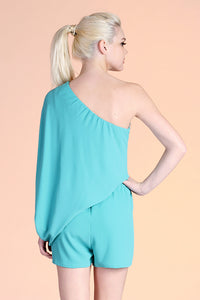One Shoulder Slouchy Sleeve Romper - Ahri