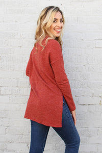 Zipper Down Knit Long Sleeve Top