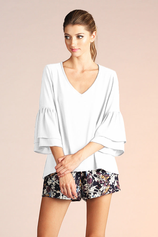 Ruffle V Neck Blouse - Ahri
