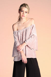 Pleated Velvet Off Shoulder Top - Ahri