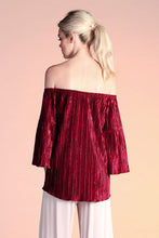 Load image into Gallery viewer, Pleated Velvet Off Shoulder Top - Ahri