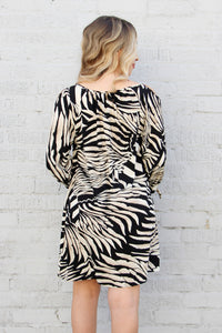Resort Zebra Cold Shoulder Dress