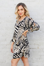 Load image into Gallery viewer, Resort Zebra Cold Shoulder Dress
