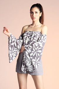 Graphic Daisy Bell Sleeve Tie Top