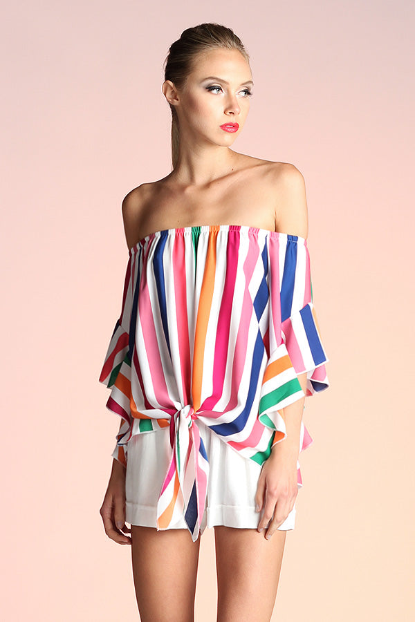 Rainbow Stripe Off Shoulder Top - Ahri