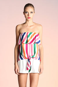 Rainbow Stripe Strapless Top - Ahri