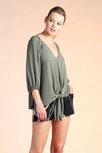 Relaxed 3/4 Sleeve Tie Top - Ahri
