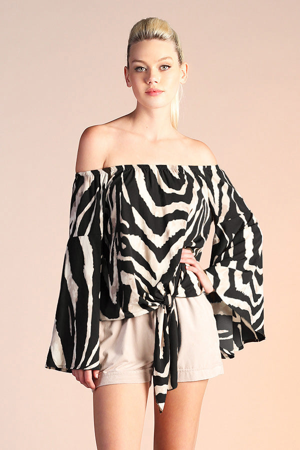 Off Shoulder Zebra Top - Ahri