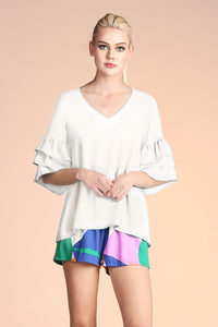Triple Ruffle Sleeve Top - Ahri