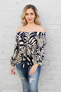 Resort Zebra 3/4 Sleeve Top