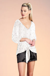 Relaxed Satin Polka Dot 3/4 Sleeve Top - Ahri