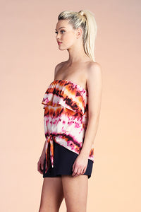 Accordion Tie Dye Strapless Top - Ahri