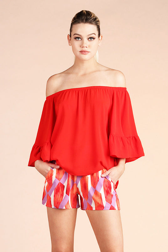 Washed Ruffle Off Shoulder Top