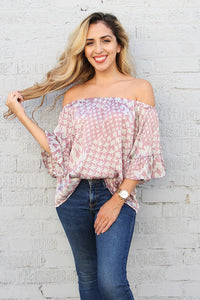 Soft Houndstooth Off Shoulder Top