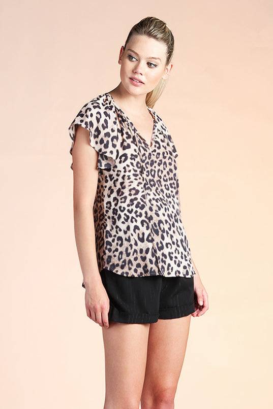 Leopard Queen Flutter Sleeve Top - Ahri