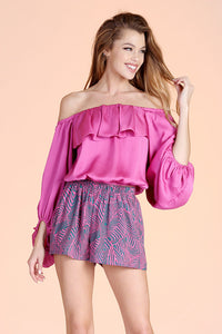 Hammered Satin Off Shoulder Top - Ahri