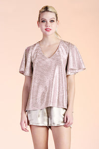 Metallic Flutter Sleeve Top - Ahri