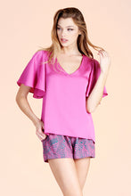 Load image into Gallery viewer, Hammered Satin Flare Sleeve Top - Ahri