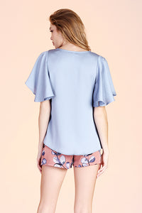 Hammered Satin Flare Sleeve Top - Ahri