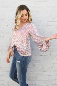 Soft Houndstooth Satin Balloon Sleeve Top