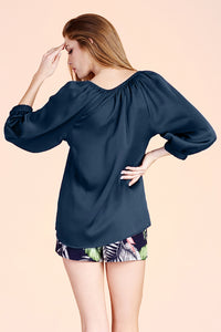Hammered Satin 3/4 Sleeve Top