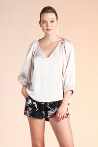 Hammered Satin 3/4 Sleeve Top - Ahri