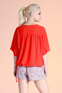 Drawstring V-Neck Dolman Top - Ahri