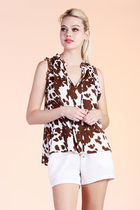 Taurus Cow Baby Ruffle Top