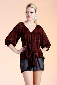Wild Child 3/4 Sleeve Tie Top - Ahri