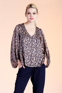 Abstract Honeycomb Balloon Sleeve Top - Ahri