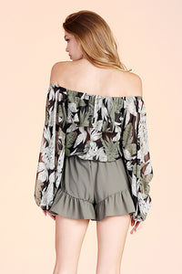 Deep Jungle Off Shoulder Balloon Sleeve Top