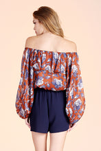 Load image into Gallery viewer, Night Dahlia Off Shoulder Balloon Sleeve Top