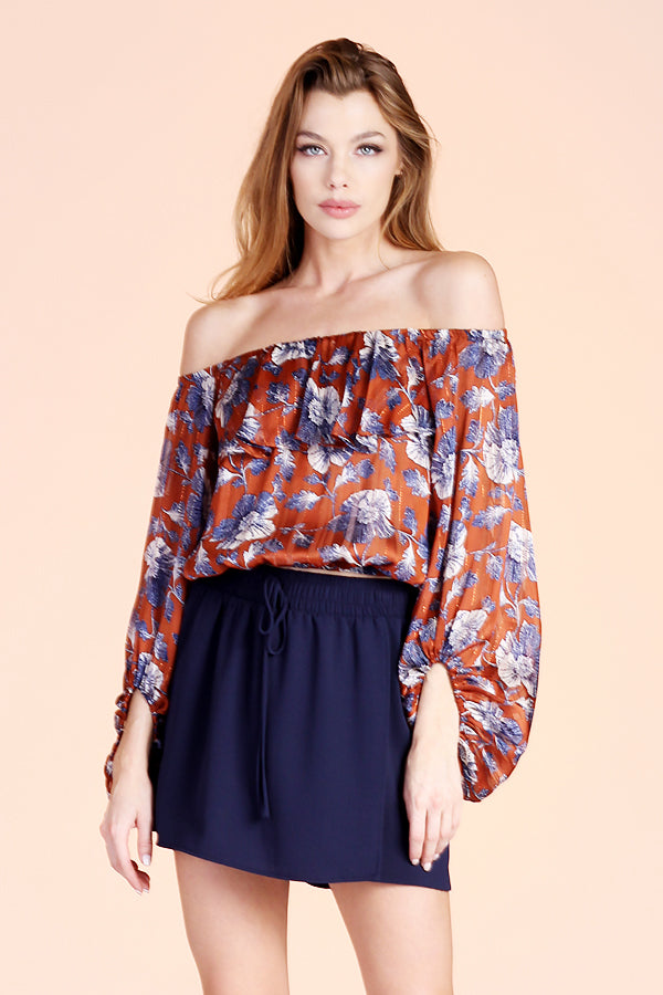 Night Dahlia Off Shoulder Balloon Sleeve Top