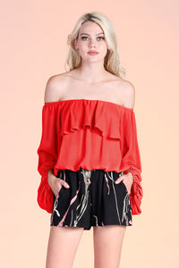 Off Shoulder Crinkle Top