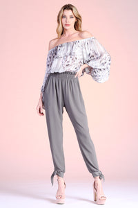 Iridescent Snake Chiffon Off Shoulder Balloon Top