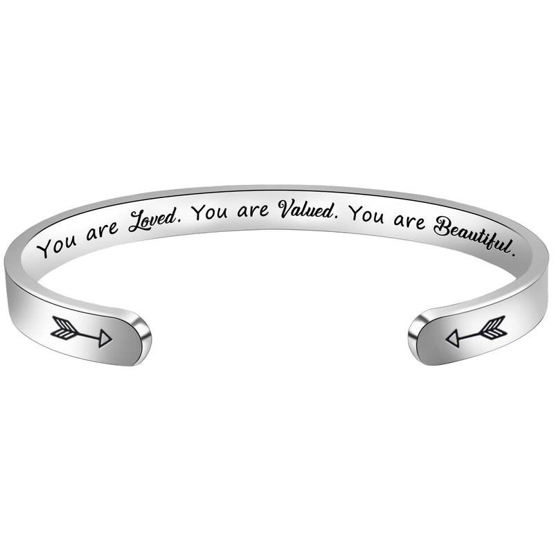 Inspirational bracelet - You are loved.you are valued.you are beautiful.-Cuff Bracelets-Btysun